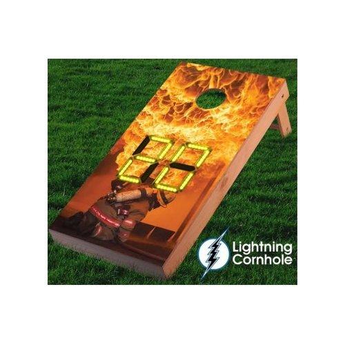 Lightning Cornhole Electronic Scoring Fire Fighter Flames Cornhole Board by