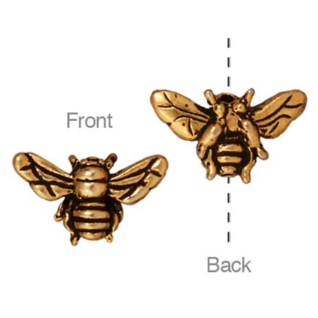22K Gold Plated Pewter Honey Bee Beads 9.5mm