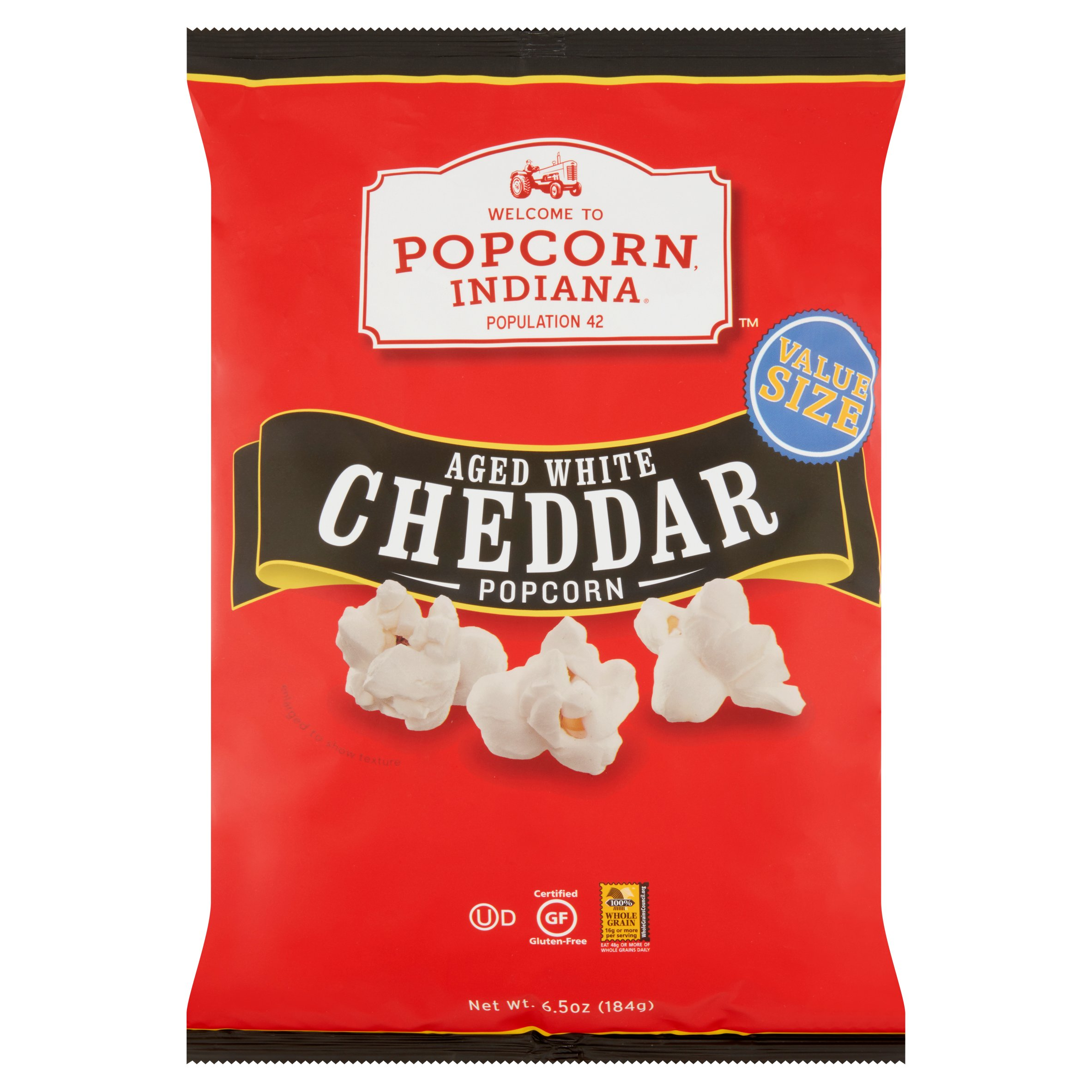 Popcorn Indiana Value Size Aged White Cheddar Popcorn, 6.5 oz