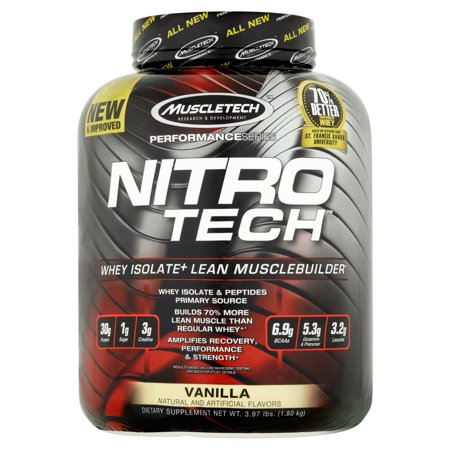 NitroTech Protein Powder Plus Muscle Builder, 100% Whey Protein with Whey Isolate, Vanilla, 40 Servings (4lbs)
