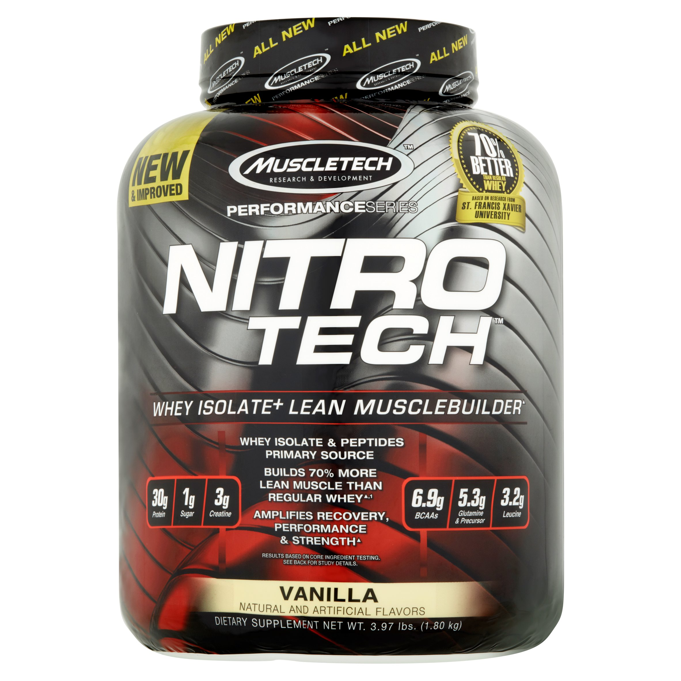 Muscletech Nitro Tech Whey Isolate Protein Powder, Vanilla, 30g Protein, 4 Lb