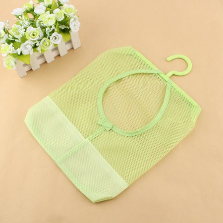 Multipurpose Hanging Clothespin Mesh Bag with Hanger Hook Bag Laundry Basket Storage Organizer for Home Bathroom Over the Door Green (Clothespin Ornaments)