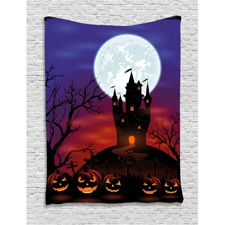 Halloween Decorations Tapestry, Gothic Haunted House Castle Hill Valley Night Sky October Festival Theme, Wall Hanging for Bedroom Living Room Dorm Decor, 60W X 80L Inches, Multi, by Ambesonne for $<!---->