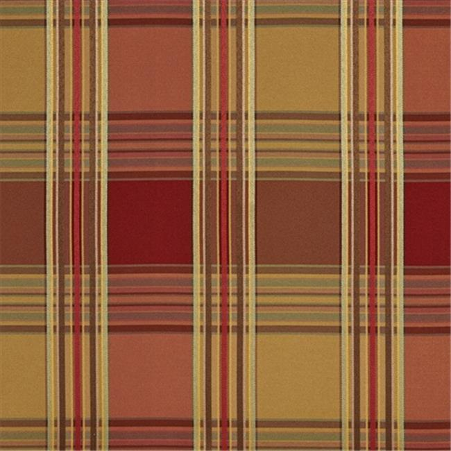 Designer Fabrics U0220G 54 in. Wide Red And Green Shiny Stripes Plaid Silk Satin Upholstery Fabric