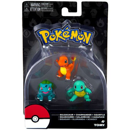 Pokemon Bulbasaur, Charmander & Squirtle Mini Figure 3-Pack
