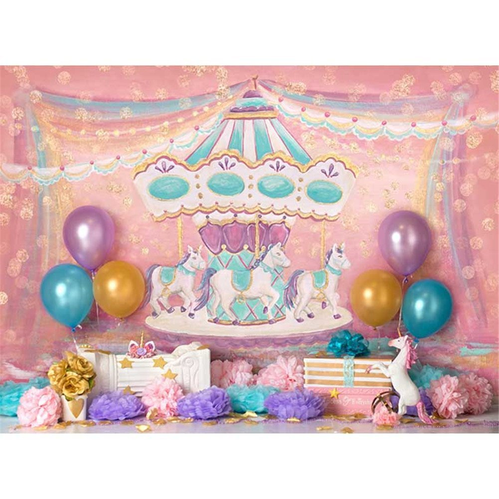 HelloDecor Polyster Photography Background 7x5ft Pink Merry Go Round Birthday Backdrop For Kids Unicorn Gold Balloons Pictures