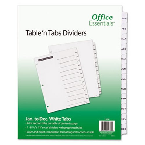 Office Essentials Table 'N Tabs Dividers, 12-Tab, Months, 1 Set (AVE11678),2PK
