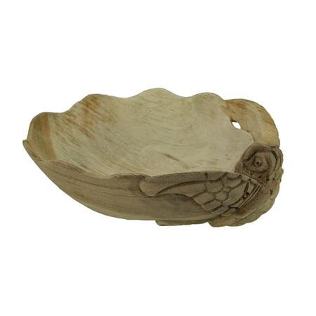 Decorative Wooden Sea Turtle Seashell Bowl ()