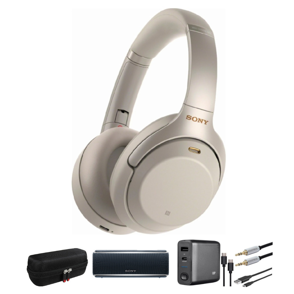 Sony WH1000XM3 Wireless Noise-Canceling Headphones(Silver) and Speaker Bundle
