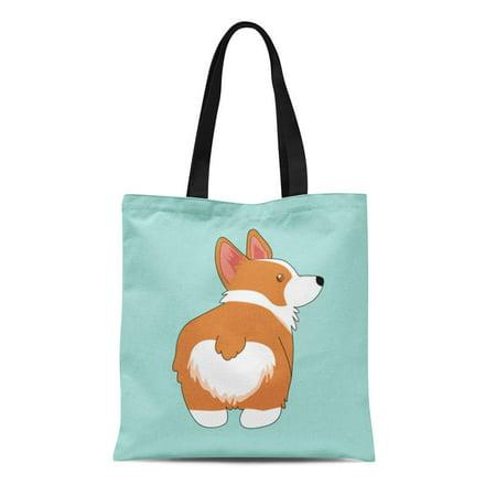 SIDONKU Canvas Tote Bag Brown Butt Corgi Cartoon Cute Dog Flat Graphic Illustrate Durable Reusable Shopping Shoulder Grocery Bag ()