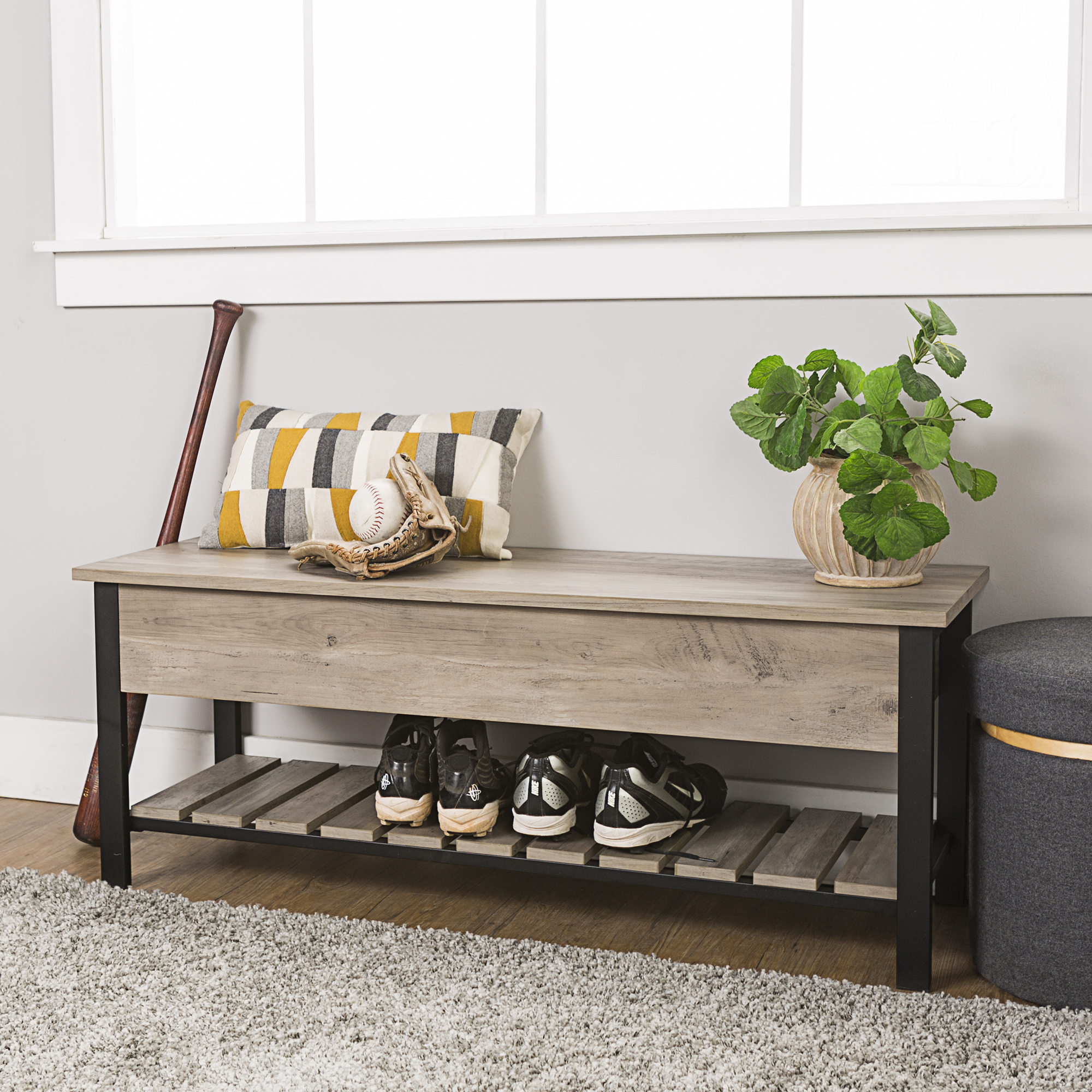 "48"" Rustic Modern Farmhouse Storage Bench with Shoe Shelf - Gray Wash"
