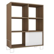Bowery Hill 6 Cubby Bookcase In Oak And White