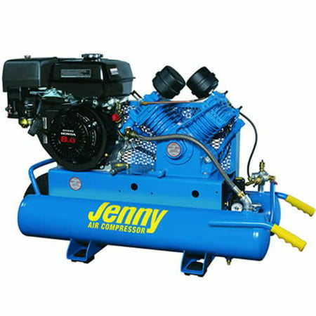 Jenny Compressors G9hga 8P Single Stage Wheeled Portable Gasoline Engine Air Compressor With G Pump  8 Gallon Tank  9 Hp