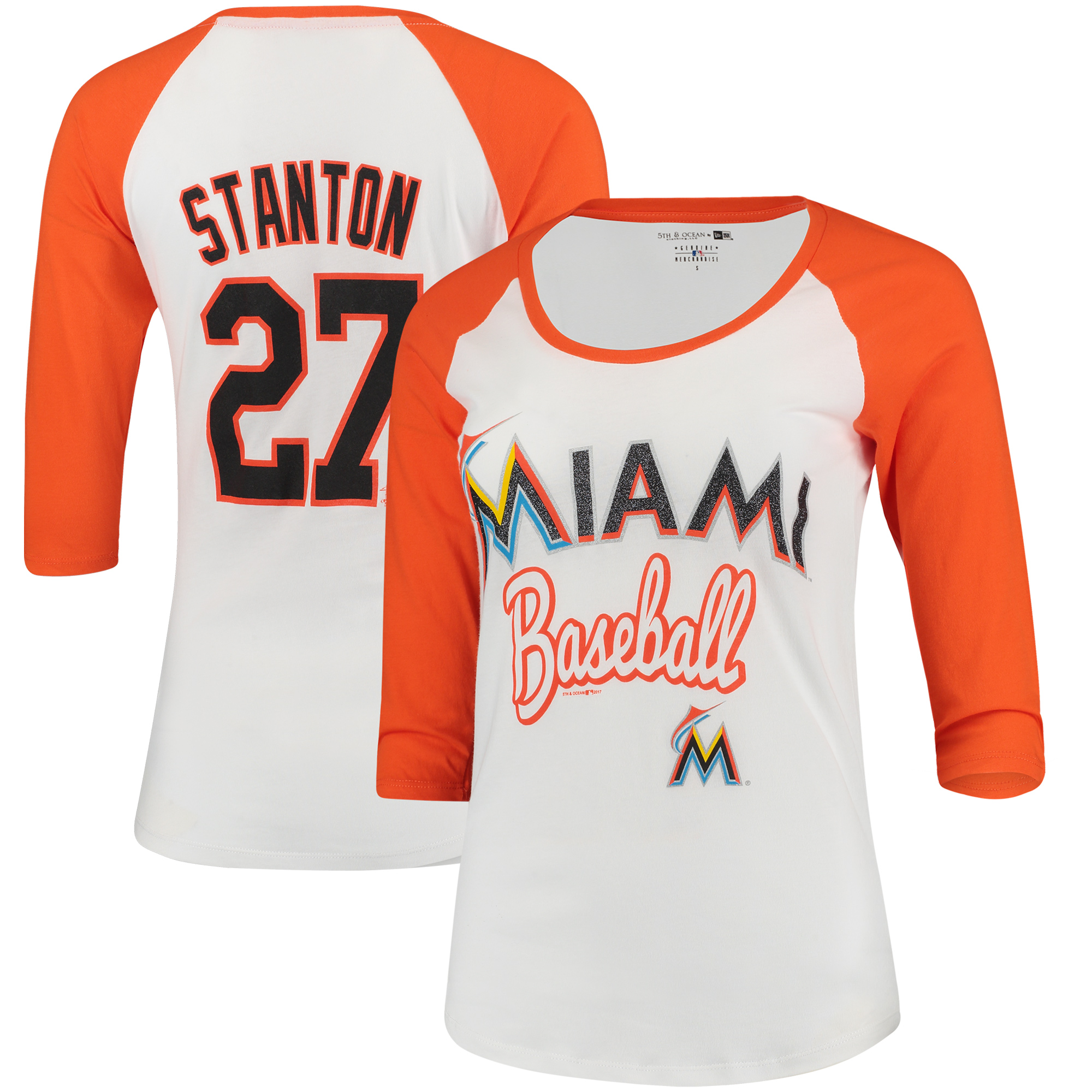 Giancarlo Stanton Miami Marlins 5th & Ocean by New Era Women's Glitter 3/4-Sleeve Raglan T-Shirt - White/Orange