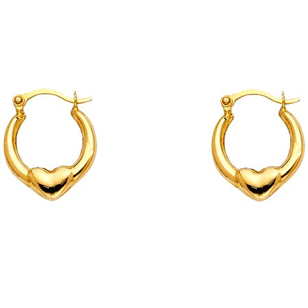 Small Heart Huggie Round Hoop Earrings Solid 14k Yellow Gold Hollow Fancy Tiny Genuine 7 x 7