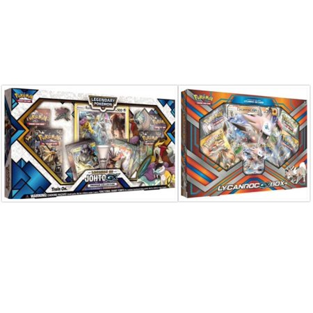Pokemon Legends of Johto Premium GX Collection Box and Lycanroc GX Box Trading Card Game Collection Box Bundle, 1 of Each. Great Variety Gift Set For Boys or - Natural Gift Pokemon