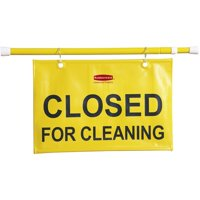Rubbermaid Commercial Closed For Cleaning Safety Sign, Yellow, 1 Each (Quantity)