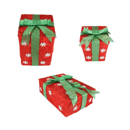 set of 3 red snowflake sisal gift boxes lighted christmas outdoor decorations - Outdoor Christmas Decorations Gift Boxes