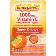 Emergen-C Vitamin C Supplement for Immune Support, Super Orange, 10 Ct