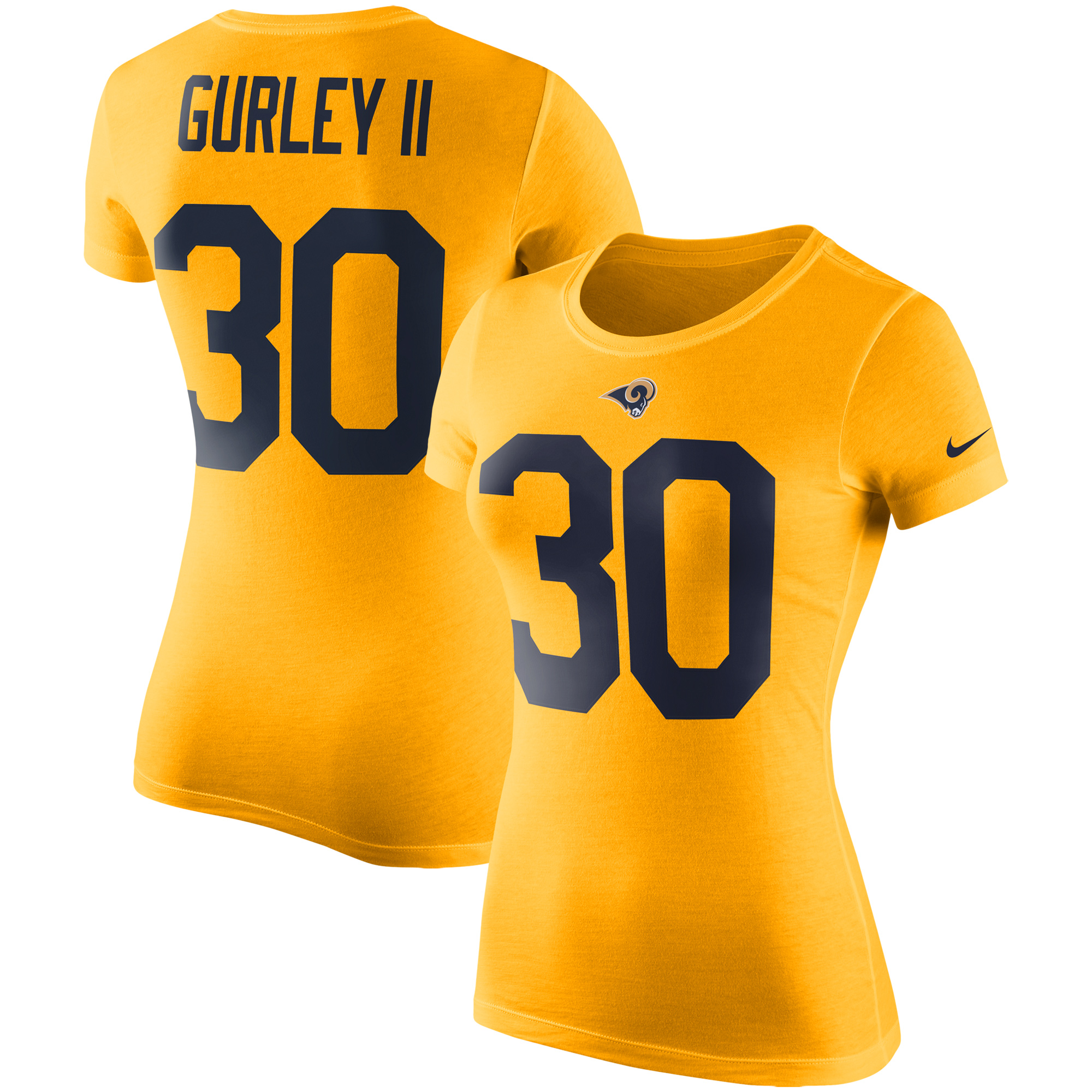 Todd Gurley II Los Angeles Rams Nike Women's Color Rush 2.0 Name & Number Performance T-Shirt - Gold