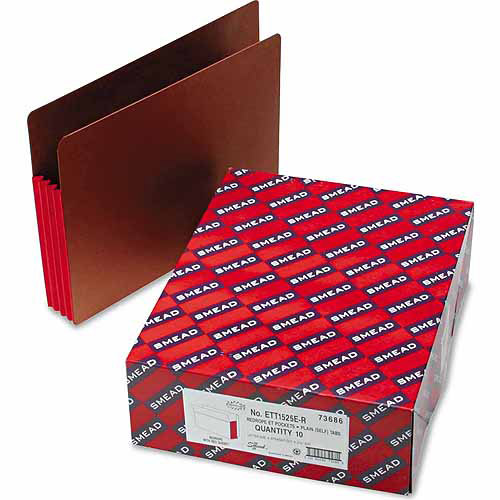 """Smead 3-1/2"""" Accordion Expansion File Pockets, Straight Tab, Letter, Red, 10/Box"""