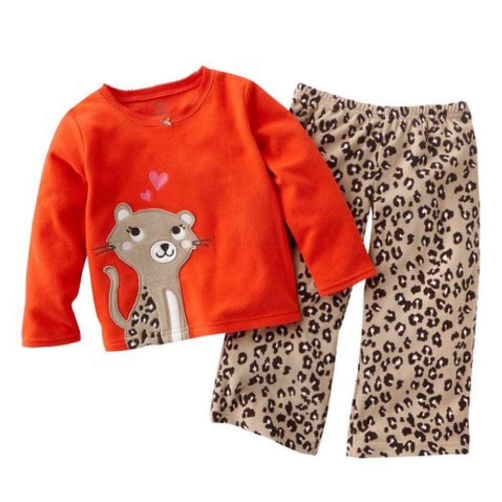 Carters Infant & Toddler Girls 2 Piece Set Fleece Cheetah Print Pants & Red Top