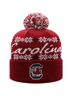 Women's Russell Athletic Garnet South Carolina Gamecocks Flattered Cuffed Knit Hat with Pom - OSFA