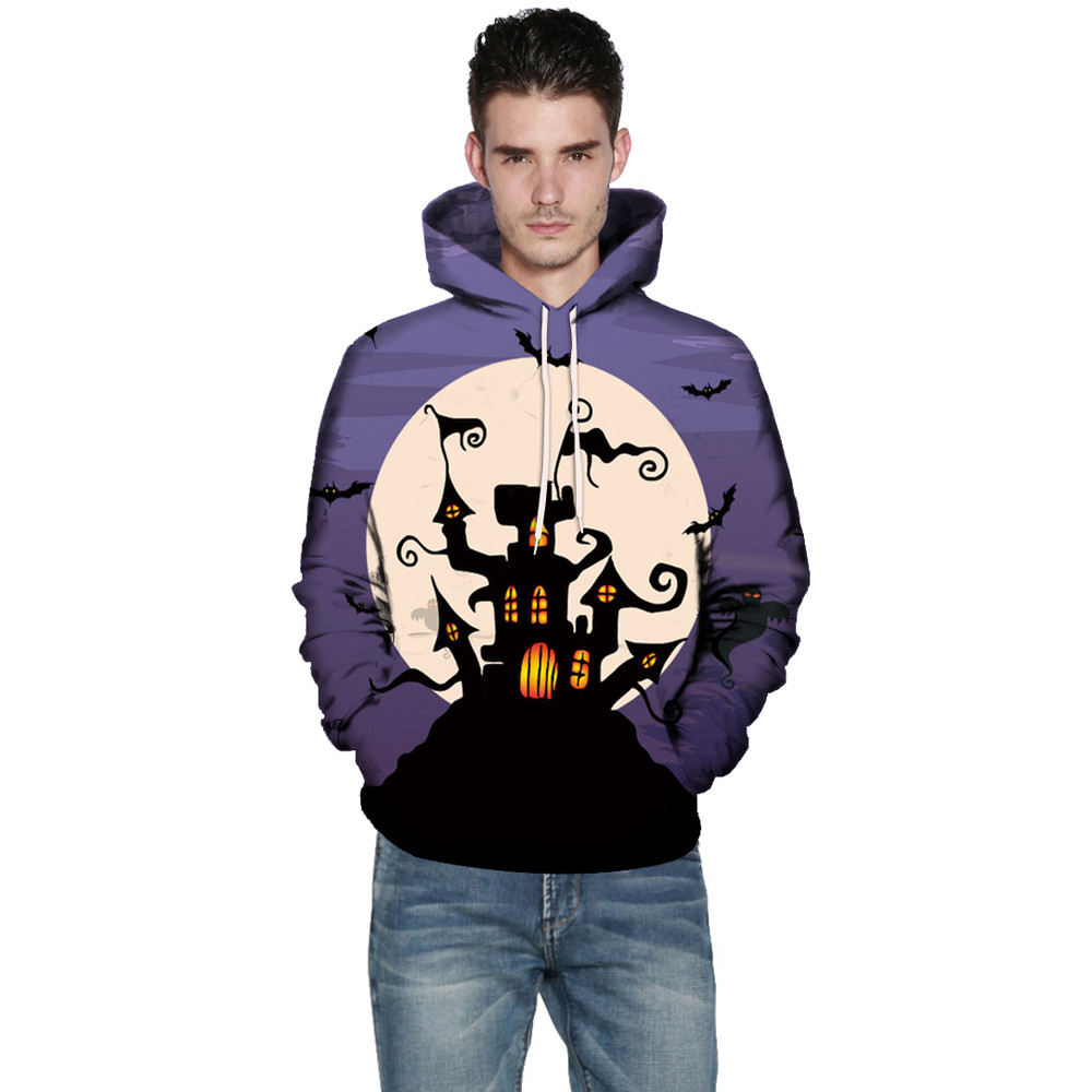 Mens Hoodie,Men Women Mode 3D Print Long Sleeve Halloween Couples Hoodies Top Blouse Shirts