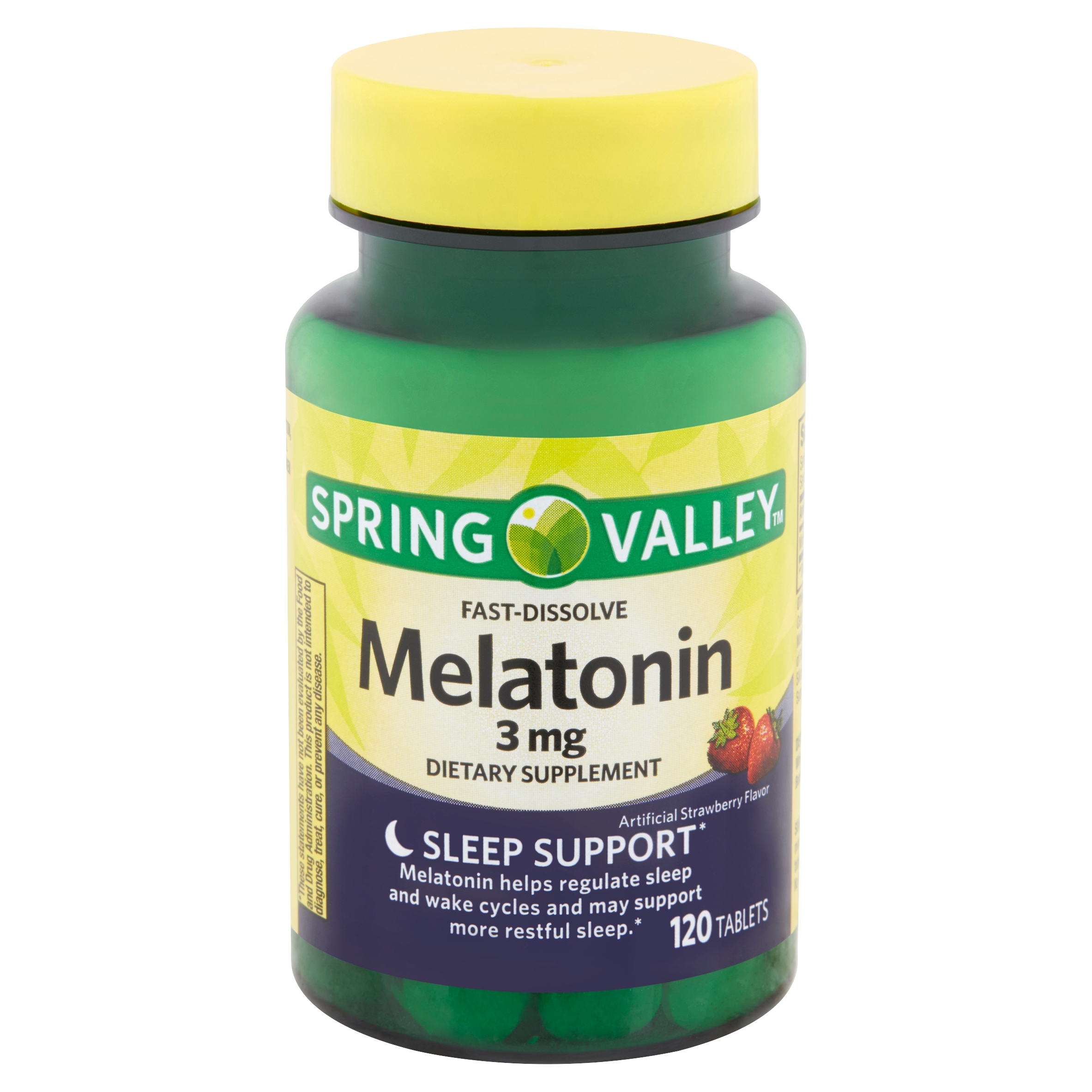 Spring Valley Fast-Dissolve Melatonin Tablets, 3 mg, 120 count