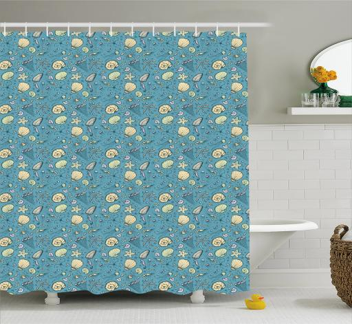 Under The Sea Shower Curtain, Summer Beach Theme With Hand Drawn Clams  Nautilus Jellyfish