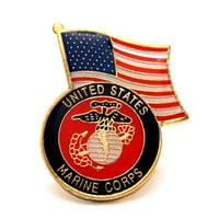 USMC Marines Corps Insignia 1 USA Flag Lapel Hat Pin Military PPM052