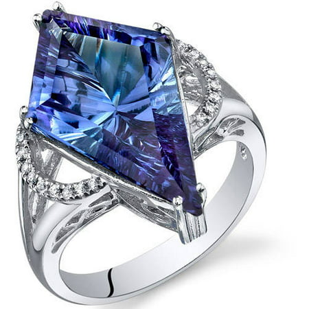 Oravo 9.00 Carat T.G.W. Kite-Shape Simulated Alexandrite Rhodium over Sterling Silver Ring