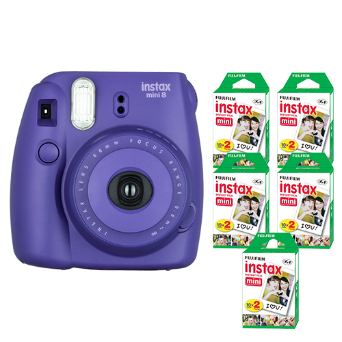 FujiFilm Instax Mini 8 Fuji Instant Film Camera Grape + 100 SHeets Instant Film by Fujifilm