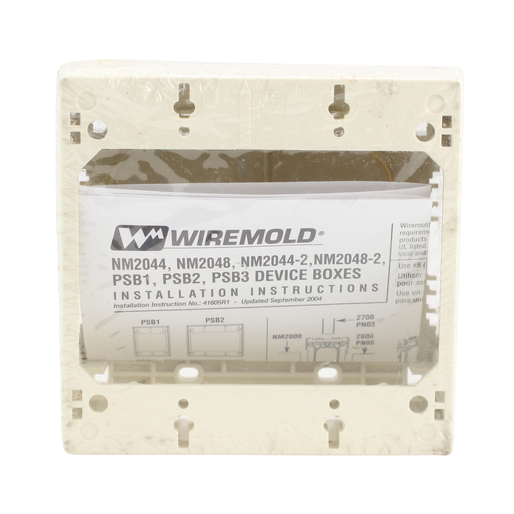 Wiremold NM2048-2 Sure-Snap Deeo Device Box 2 Gang Cable Raceway, Ivory