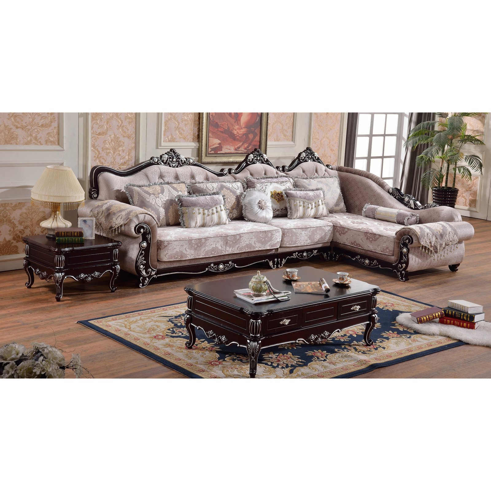 Meridian Furniture Inc Valentino 3 Piece Sectional Sofa with Pillows  sc 1 st  Walmart : 3 piece sectional couch - Sectionals, Sofas & Couches