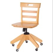 Kids Wooden Chair w Contoured Seat & Adjustable Height