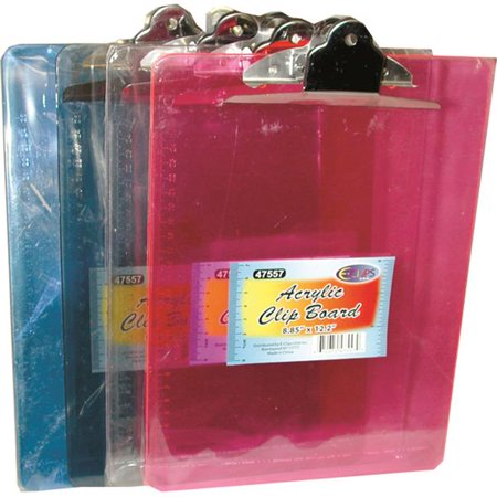 DDI 1288233 Acrylic Clip Board - 8.85 in. x 12.2 in. Case Of 48 - Clap Boards