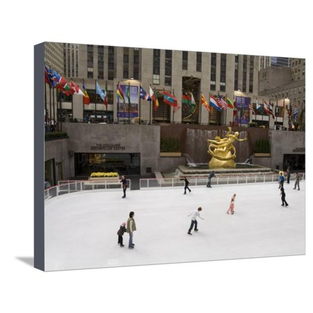 Ice Rink at Rockefeller Center, Mid Town Manhattan, New York City, New York, USA Stretched Canvas Print Wall Art By R H (Manhattan Town Center)