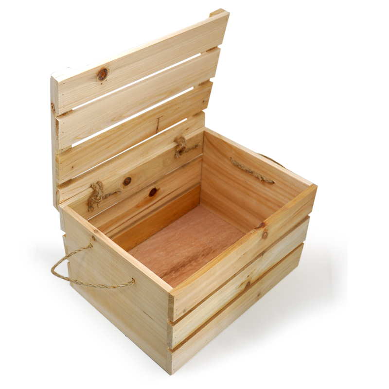 Natural Wooden Crate Storage Box With Lid Medium 11in Walmartcom