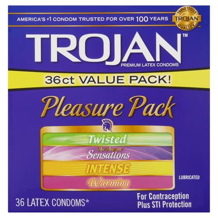 Trojan Pleasure Pack Lubricated Condoms, 36ct - Condom Costume