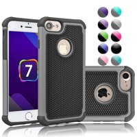"""Apple iPhone 7 Case, Case For iPhone 7, Njjex Hybrid Shock Absorbing Best Impact Defender Rugged Slim Cover Shell Plastic Outer & Rubber Silicone Inner For iPhone 7 4.7"""""""