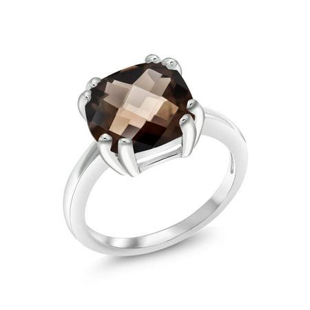 3.07 Ct Cushion Checkerboard Brown Smoky Quartz 925 Sterling Silver - Blown Glass Ring