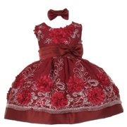 Baby Girls Burgundy Sequin Floral Embroidery Flower Girl Dress 6M