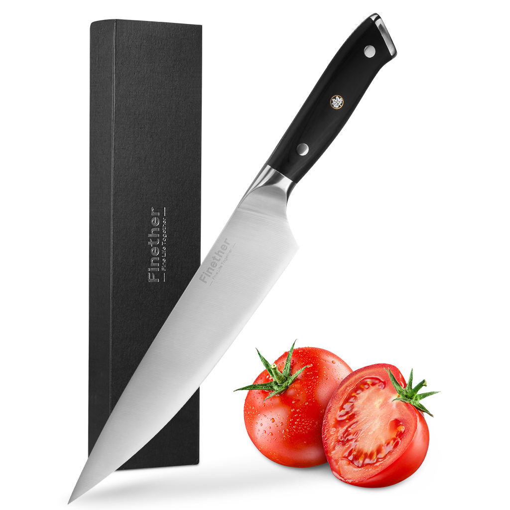 "Finether 8"" Kitchen Chef's Knife, FDA and LFGB Approved High Carbon Stainless Steel Multipurpose Knife with Sharp Blade and Ergonomic Wood Handle"