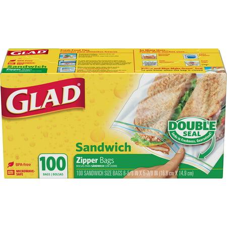 b3e095cc115c Glad Zipper Food Storage Sandwich Bags - 100 Count