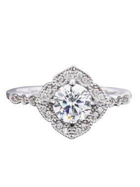 1.50 Carat Round cut Moissanite and Diamond Vintage art deco Engagement Ring in White Gold