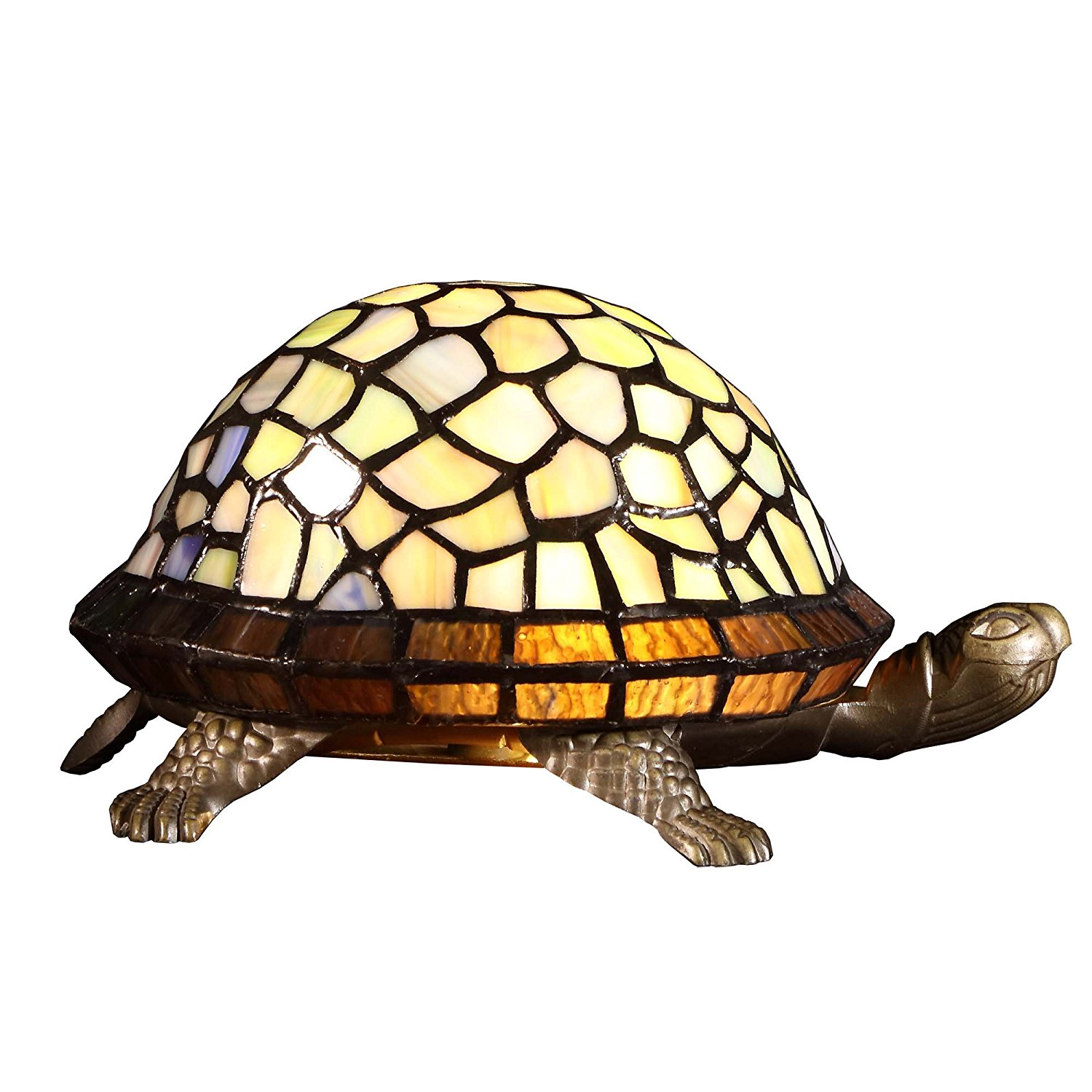 Bieye L10400 9 Inches Tortoise Tiffany Style Stained Glass Accent