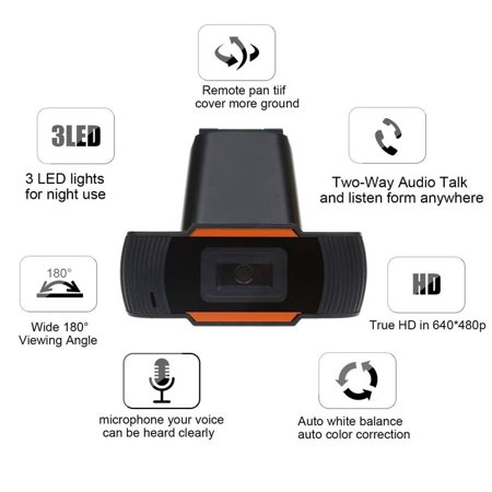 Webcam with Built-in HD Microphone Drive Free Auto Focus HD Web Cam Color:Orange - image 5 of 8