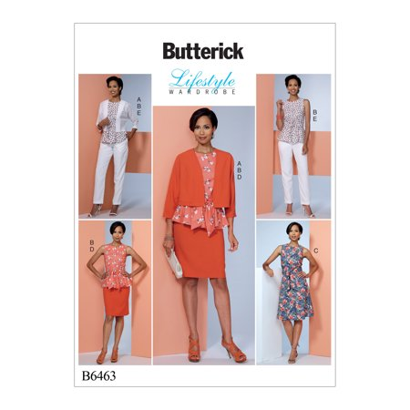 - Butterick Pattern Misses' Jacket, Top, Dress, Skirt And Pants-14-16-18-20-22