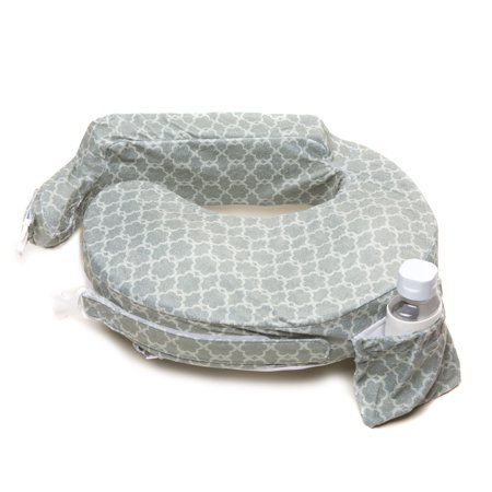 My Brest Friend Deluxe Nursing Pillow, Grey Flower Key